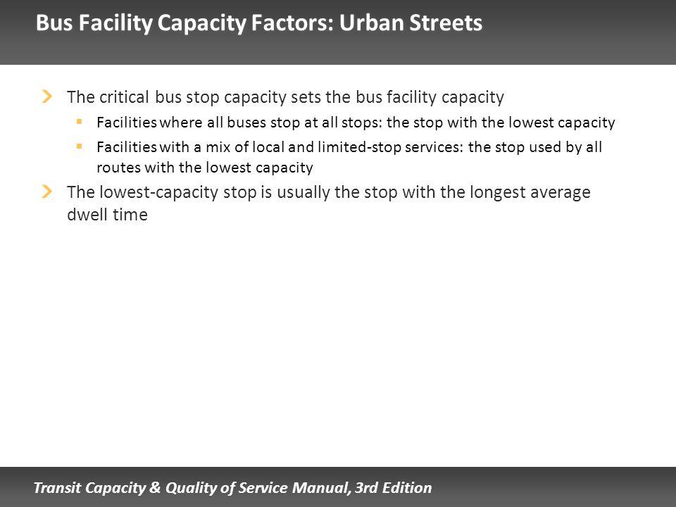Bus Facility Capacity Factors: Urban Streets