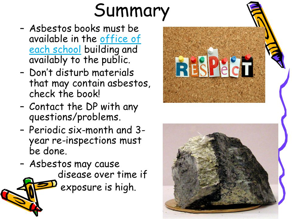 Summary Asbestos books must be available in the office of each school building and availably to the public.