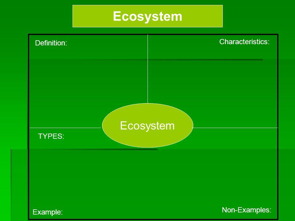 Ecosystem Ecosystem Characteristics: Definition: TYPES: Non-Examples: