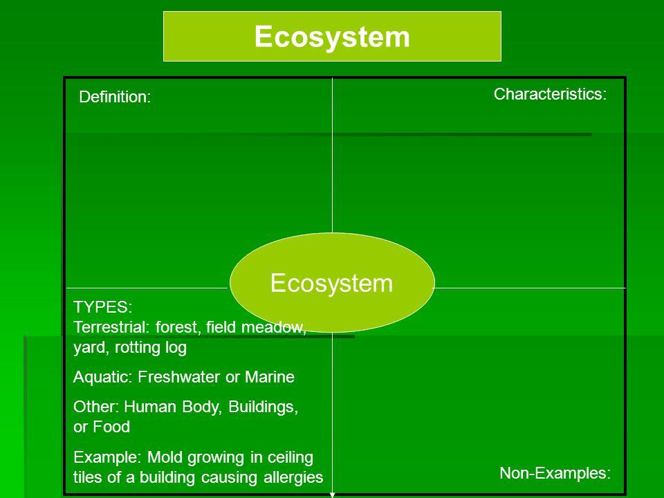 Ecosystem Ecosystem Characteristics: Definition: