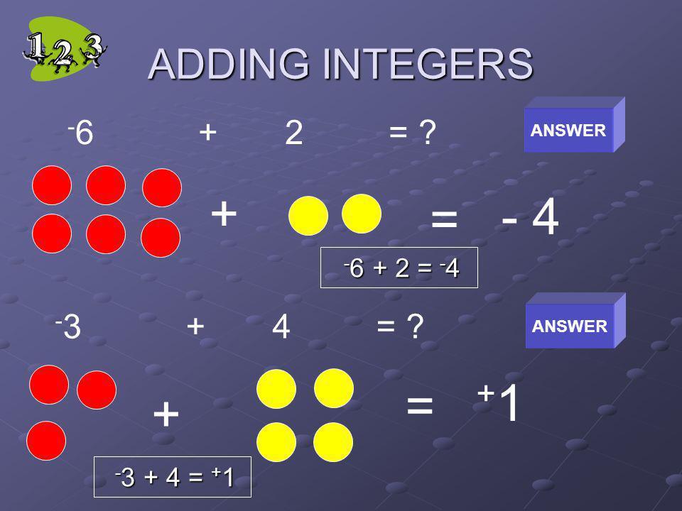 + - 4 = +1 = + ADDING INTEGERS -6 + 2 = -3 + 4 = -6 + 2 = -4