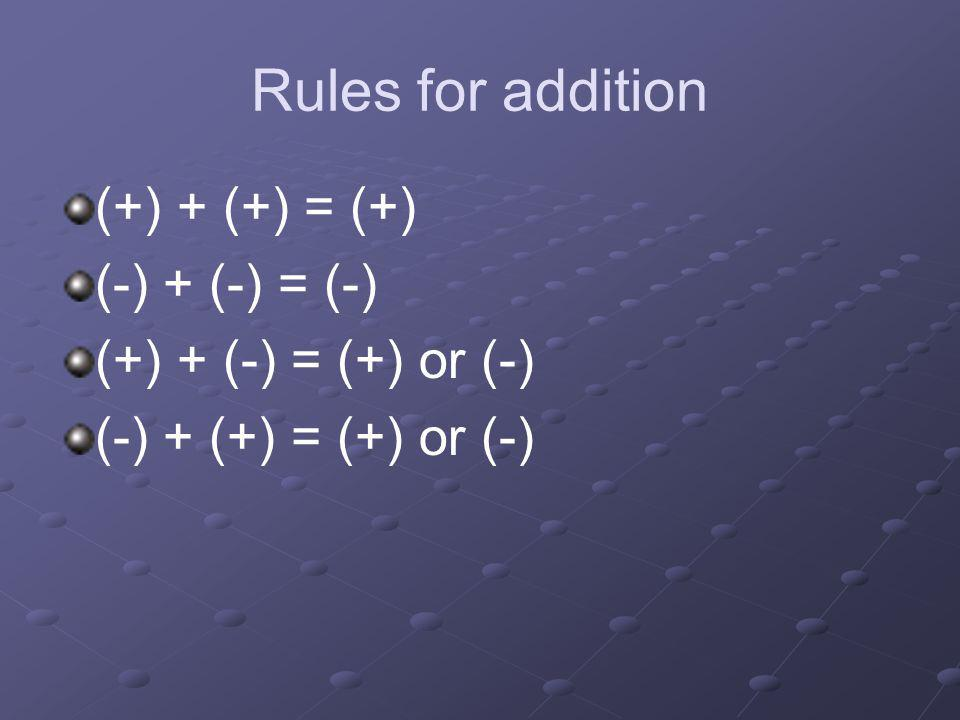 Rules for addition (+) + (+) = (+) (-) + (-) = (-)
