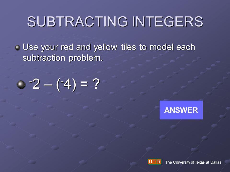 SUBTRACTING INTEGERS -2 – (-4) =
