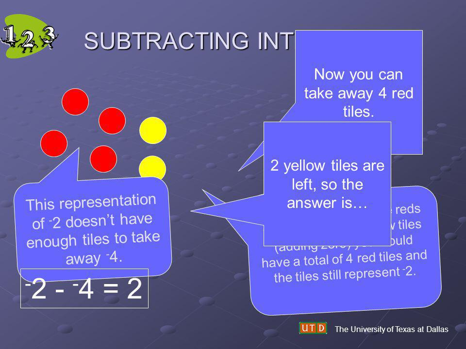 -2 - -4 = 2 SUBTRACTING INTEGERS Now you can take away 4 red tiles.