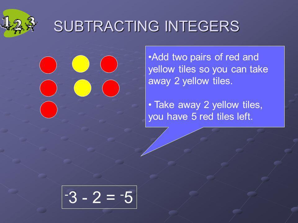 -3 - 2 = -5 SUBTRACTING INTEGERS