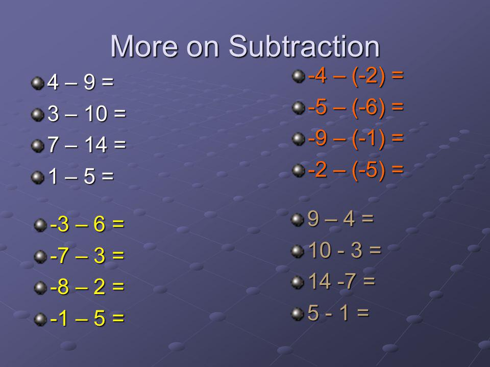 More on Subtraction -4 – (-2) = 4 – 9 = -5 – (-6) = 3 – 10 =
