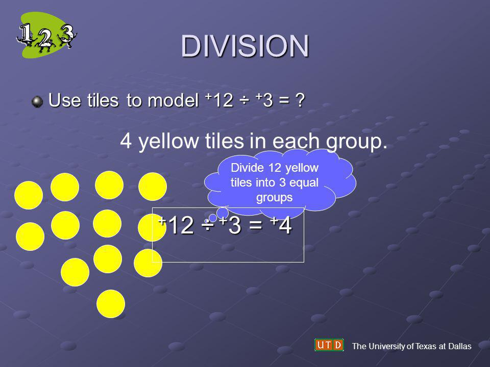 Divide 12 yellow tiles into 3 equal groups