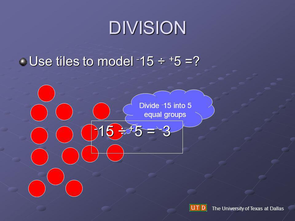 Divide -15 into 5 equal groups
