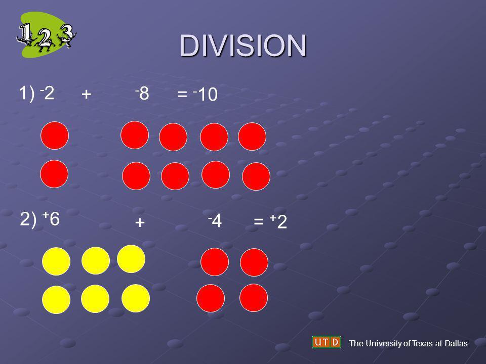 DIVISION 1) -2 + -8 = -10 2) +6 + -4 = +2