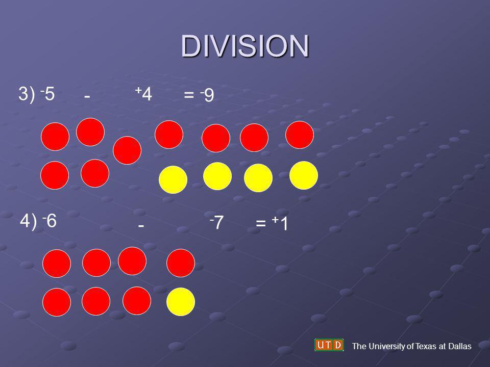 DIVISION 3) -5 - +4 = -9 4) -6 - -7 = +1