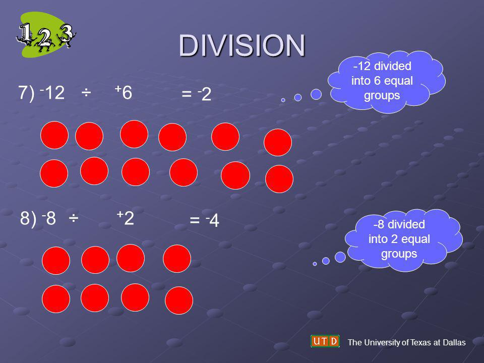 DIVISION 7) -12 ÷ +6 = -2 8) -8 ÷ +2 = -4