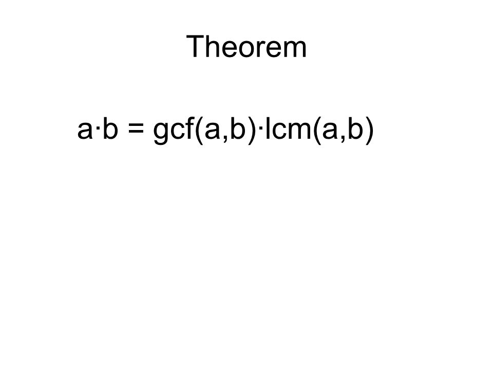 Theorem a·b = gcf(a,b)·lcm(a,b)