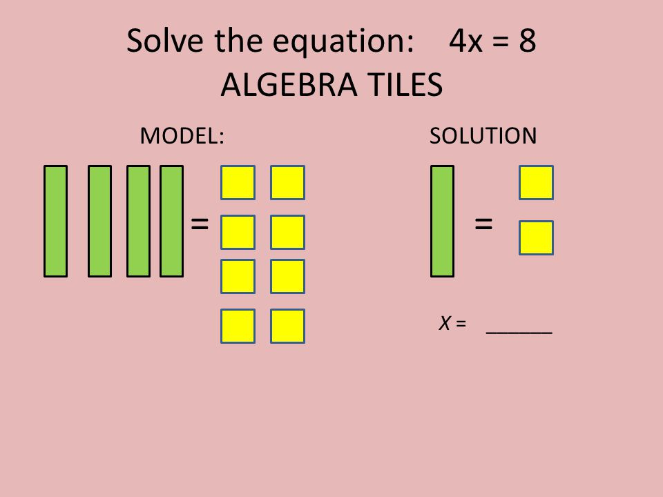Solve the equation: 4x = 8 ALGEBRA TILES