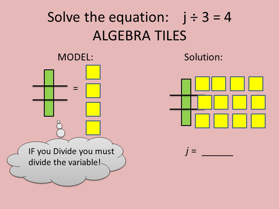 Solve the equation: j ÷ 3 = 4 ALGEBRA TILES