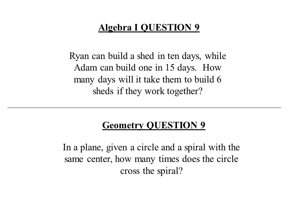 Algebra I QUESTION 9