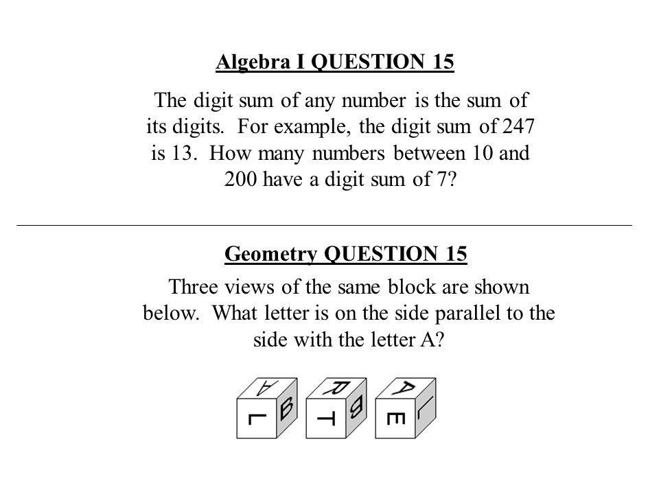 Algebra I QUESTION 15