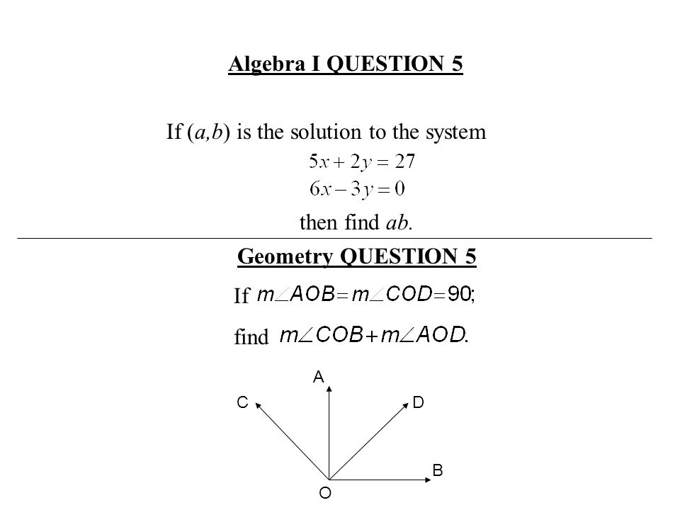 If (a,b) is the solution to the system