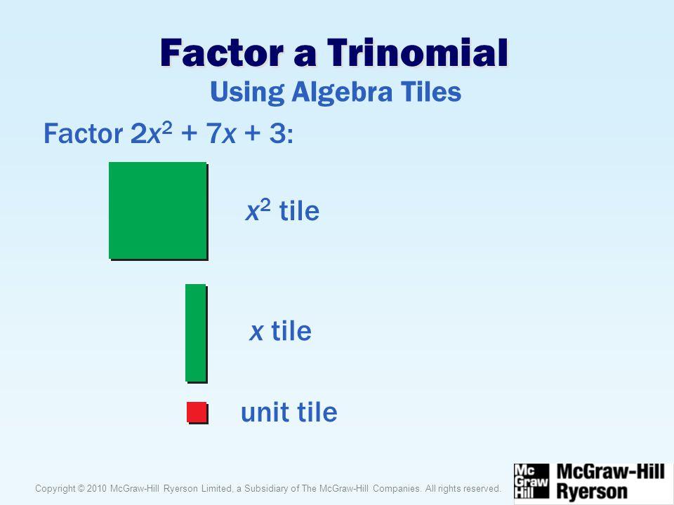 Factor a Trinomial Using Algebra Tiles Factor 2x2 + 7x + 3: x2 tile