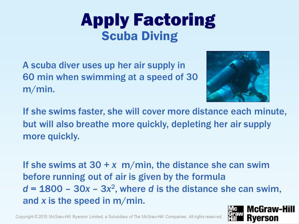 Apply Factoring Scuba Diving