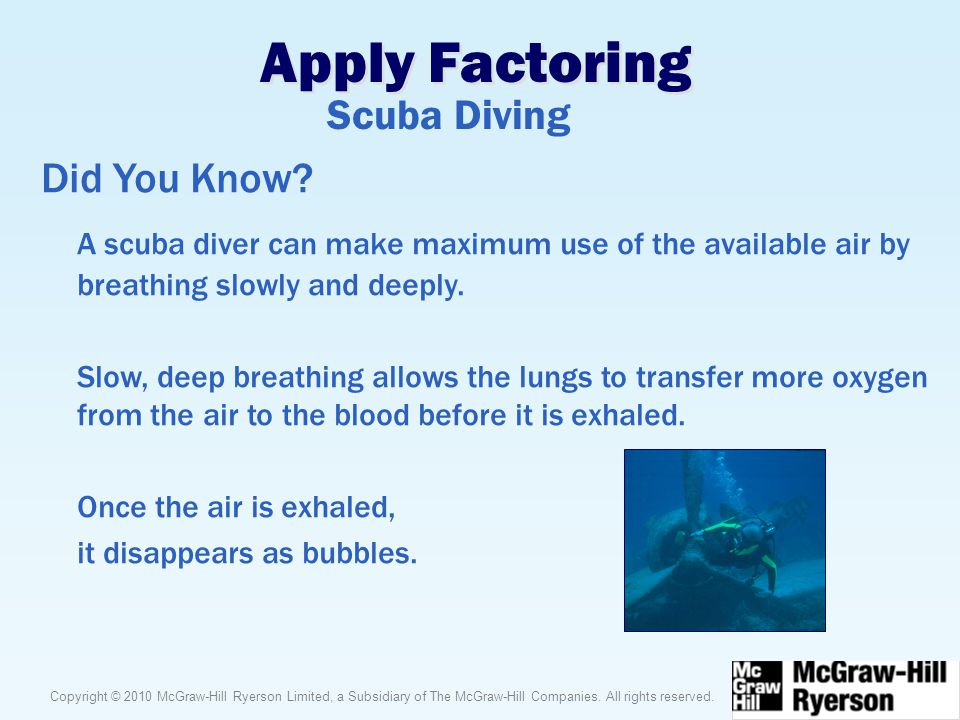 Apply Factoring Scuba Diving Did You Know