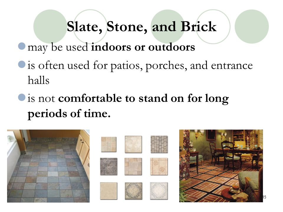 Slate, Stone, and Brick may be used indoors or outdoors