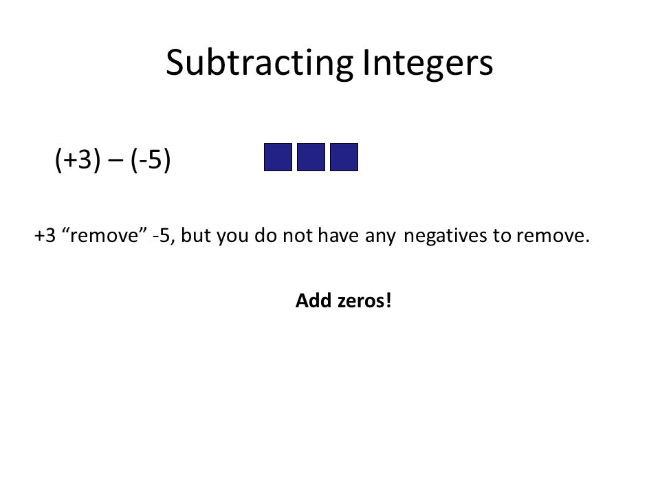 Subtracting Integers (+3) – (-5)