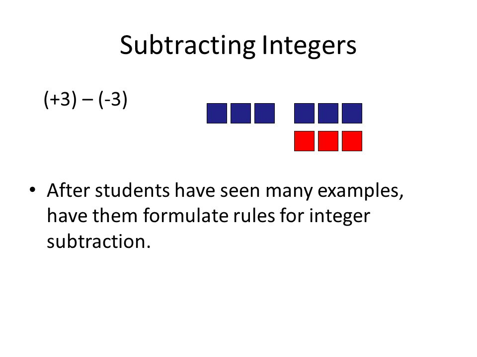 Subtracting Integers (+3) – (-3)