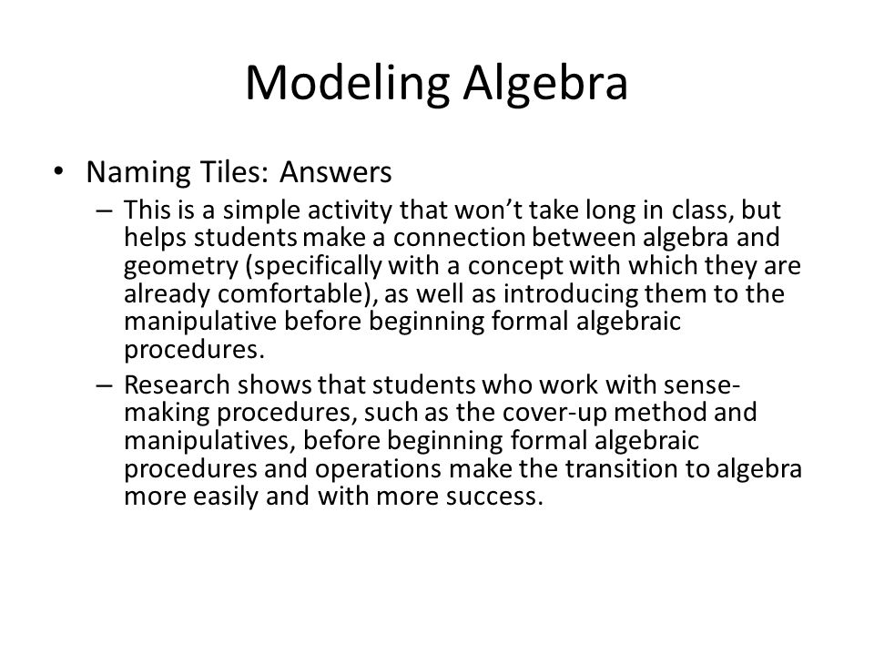 Modeling Algebra Naming Tiles: Answers