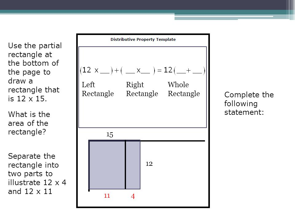 Use the partial rectangle at the bottom of the page to draw a rectangle that is 12 x 15.