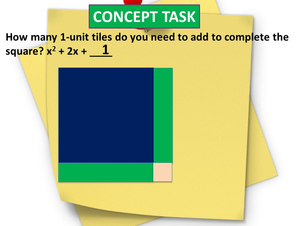 CONCEPT TASK How many 1-unit tiles do you need to add to complete the. square x2 + 2x + ____. 1.