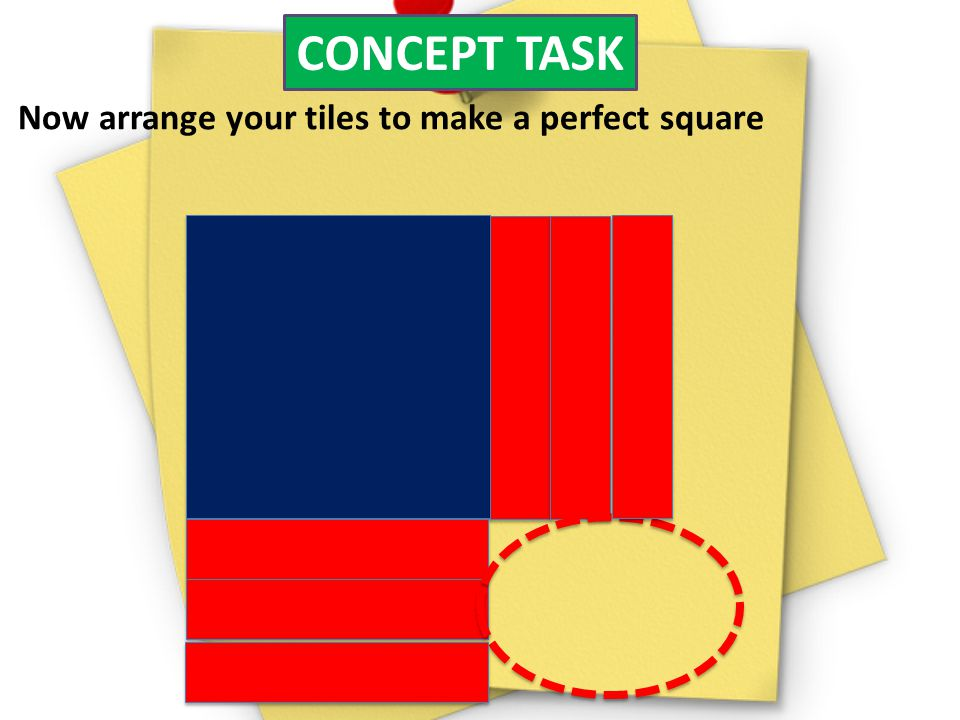 CONCEPT TASK Now arrange your tiles to make a perfect square