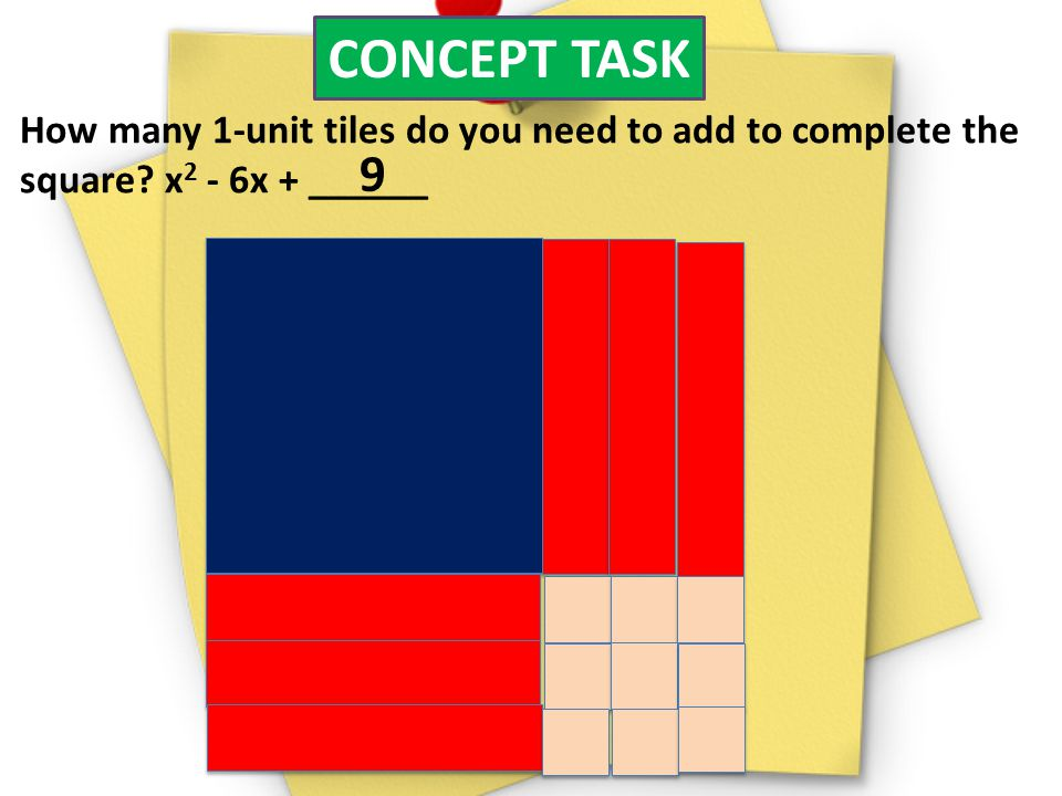 CONCEPT TASK How many 1-unit tiles do you need to add to complete the. square x2 - 6x + ______. 9.
