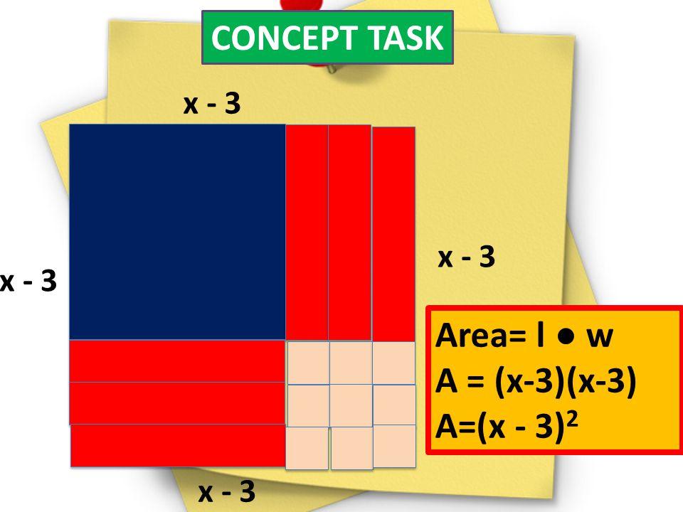 CONCEPT TASK Area= l ● w A = (x-3)(x-3) A=(x - 3)2 x - 3 x - 3 x - 3