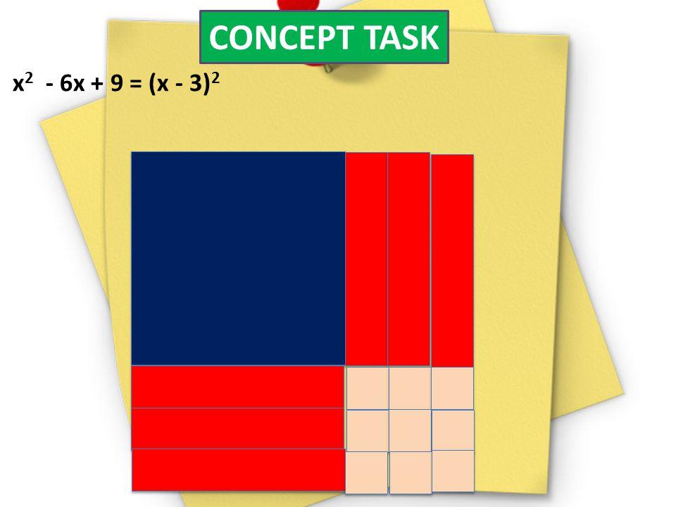 CONCEPT TASK x2 - 6x + 9 = (x - 3)2