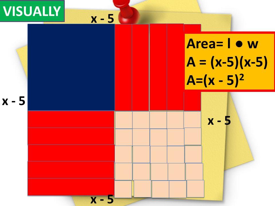 VISUALLY x - 5 Area= l ● w A = (x-5)(x-5) A=(x - 5)2 x - 5 x - 5 x - 5