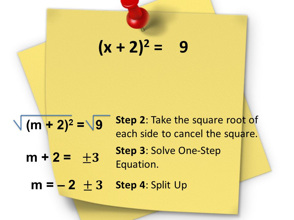 (x + 2)2 = 9 Step 2: Take the square root of each side to cancel the square. (m + 2)2 = 9.