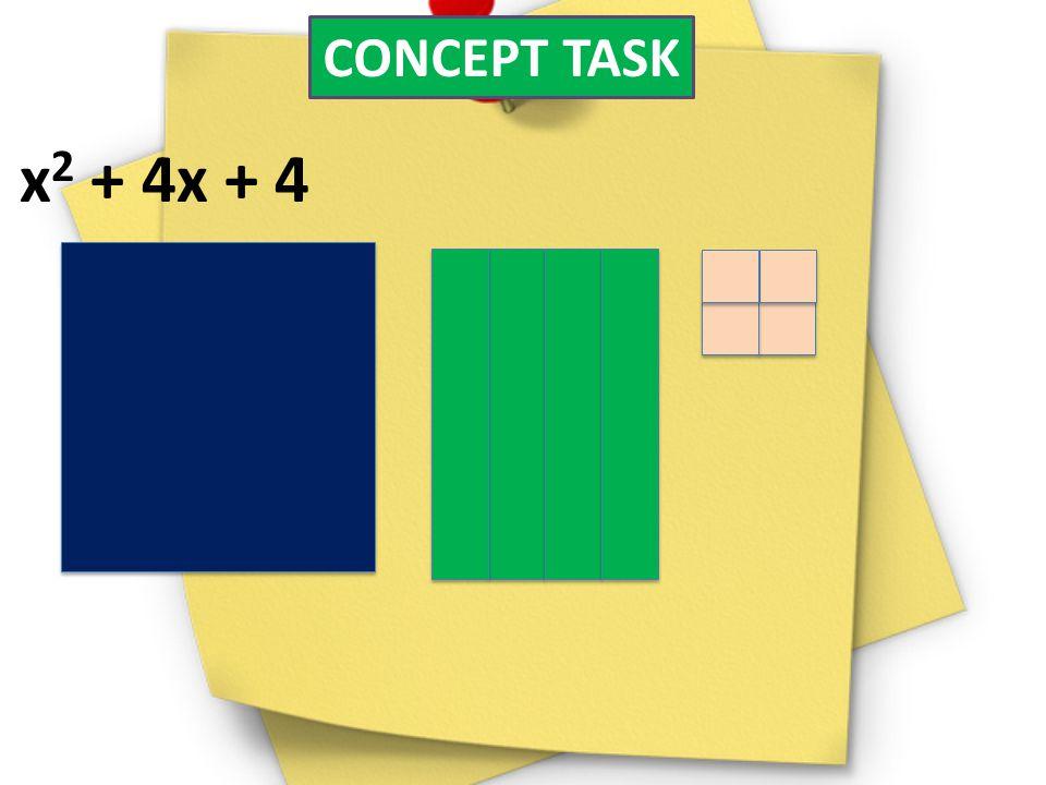 CONCEPT TASK x2 + 4x + 4.