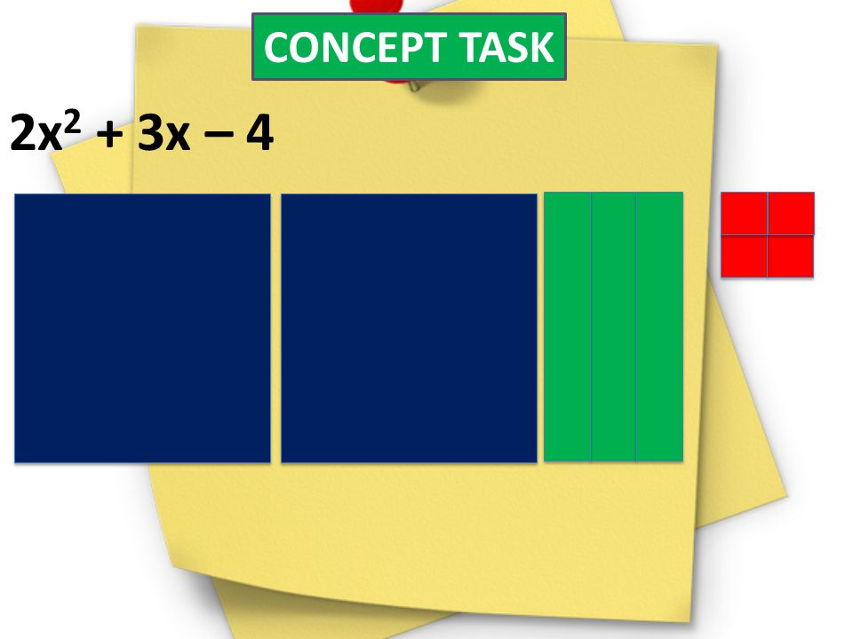 CONCEPT TASK 2x2 + 3x – 4 Im going to mess up on purpose