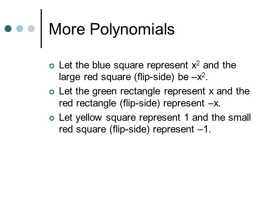 More Polynomials Let the blue square represent x2 and the large red square (flip-side) be –x2.