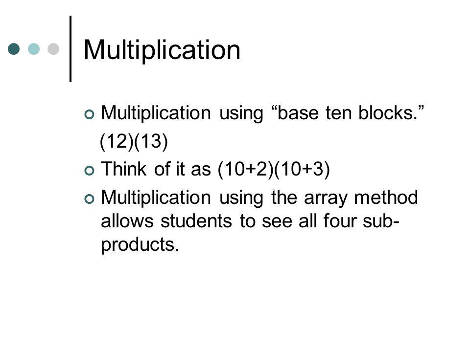Multiplication Multiplication using base ten blocks. (12)(13)