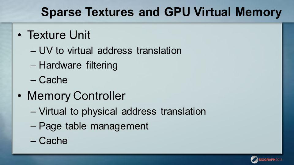 Sparse Textures and GPU Virtual Memory