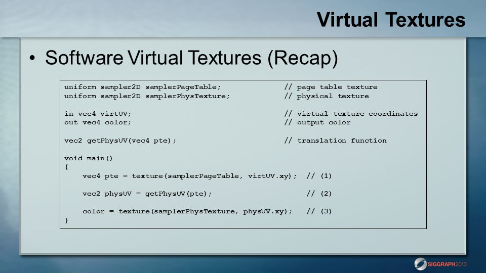 Virtual Textures Software Virtual Textures (Recap)