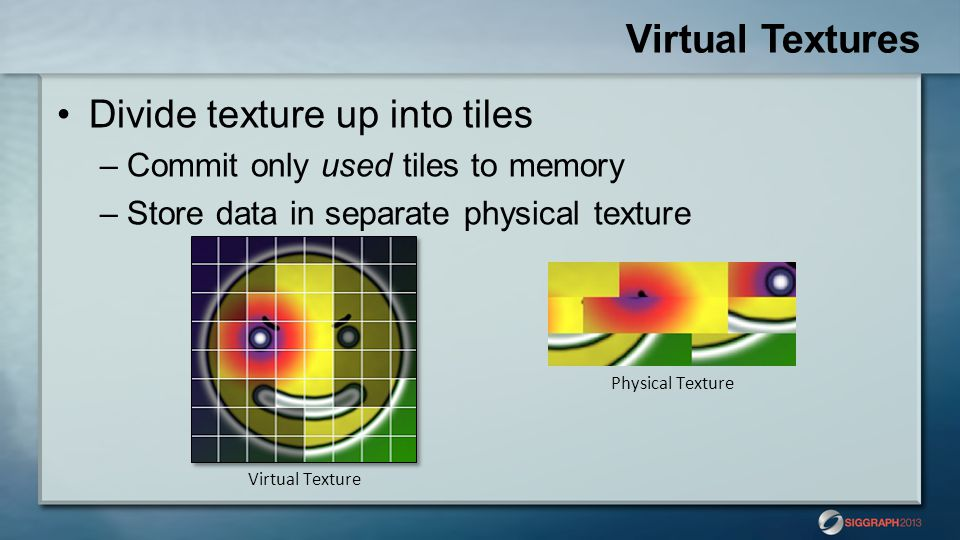 Virtual Textures Divide texture up into tiles