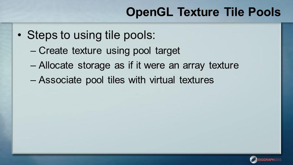 OpenGL Texture Tile Pools
