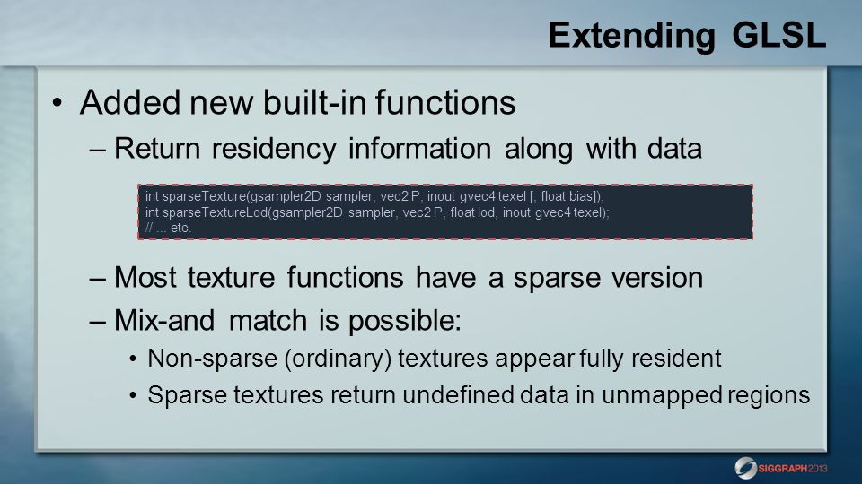 Extending GLSL Added new built-in functions
