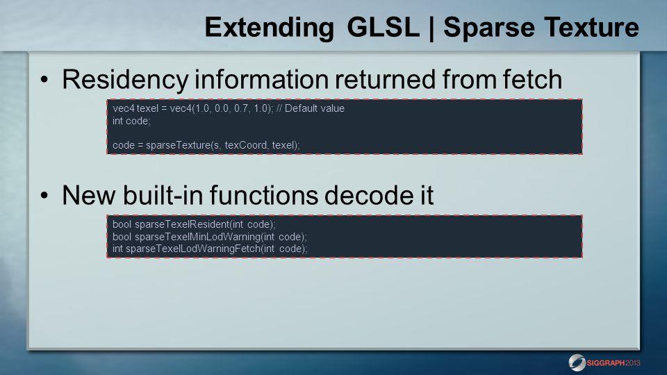 Extending GLSL | Sparse Texture