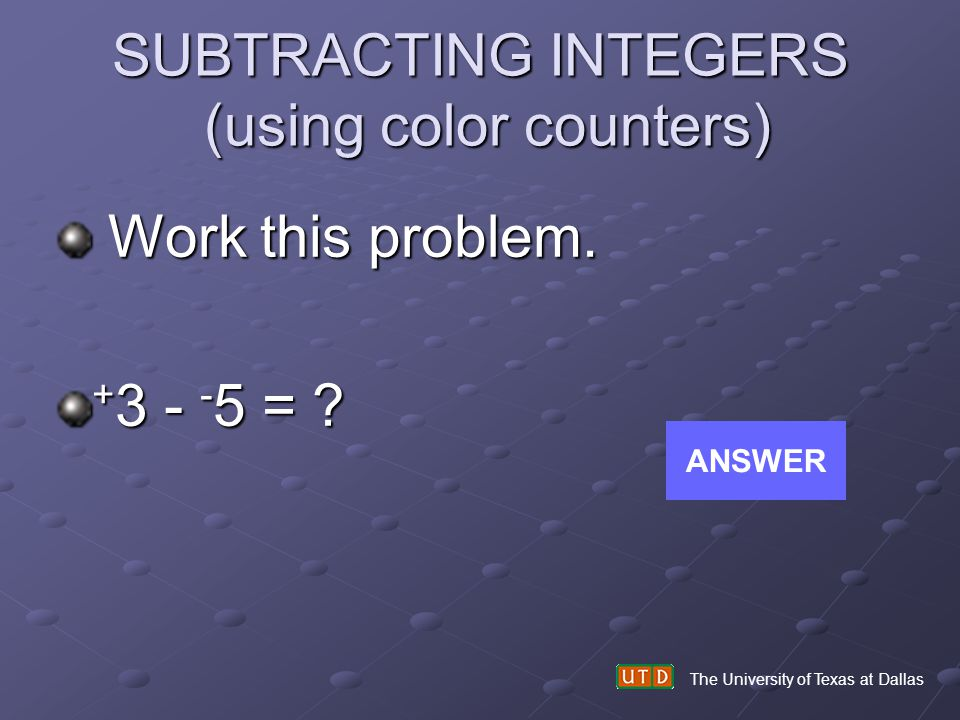 SUBTRACTING INTEGERS (using color counters)