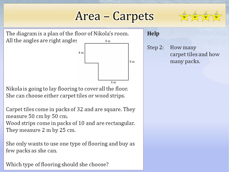 Area – Carpets The diagram is a plan of the floor of Nikola's room.
