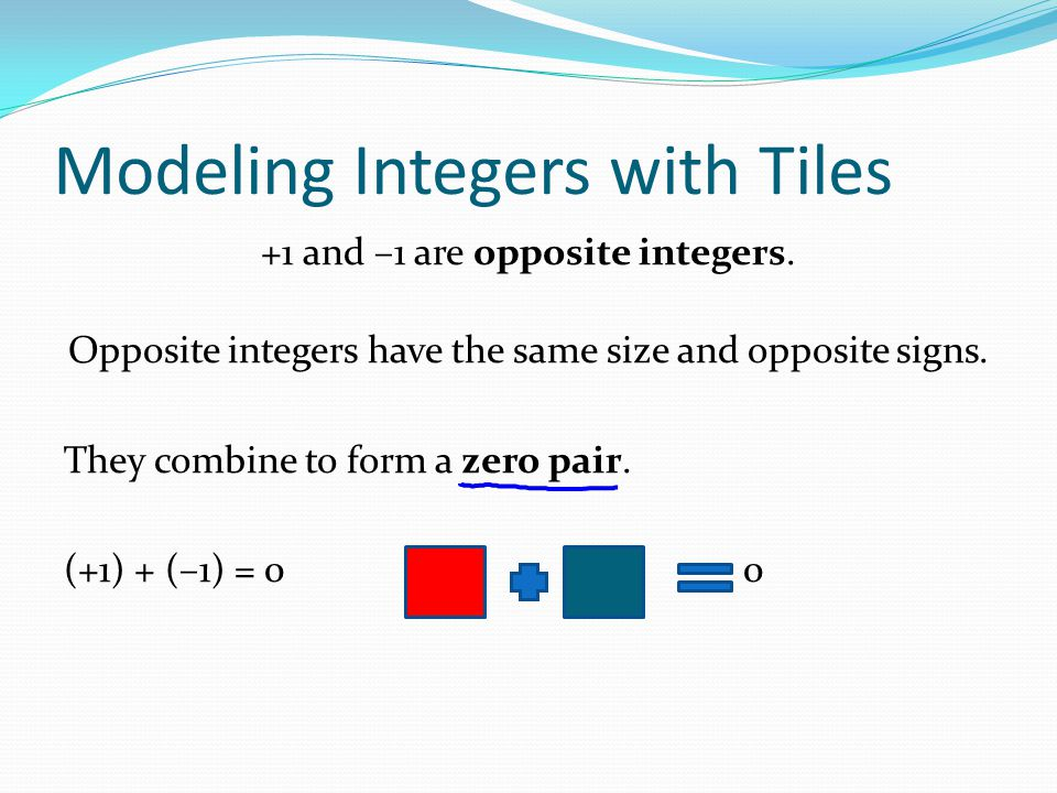Modeling Integers with Tiles
