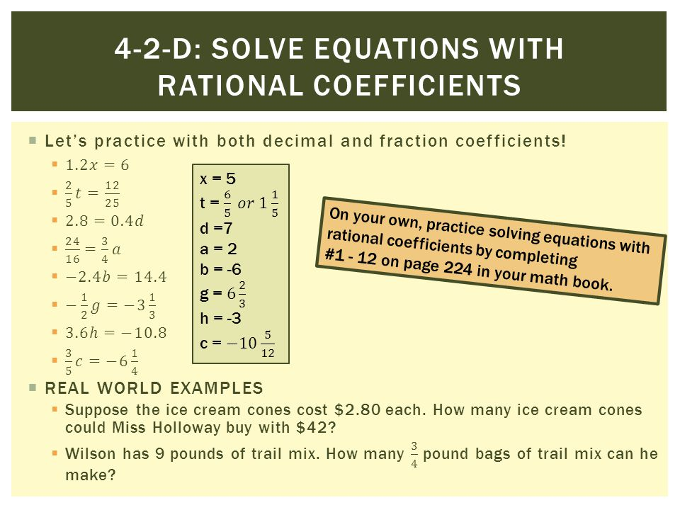 Solving Equations With Fractional Coefficients Worksheet ...